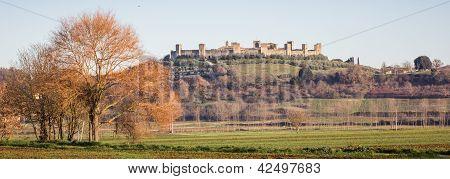 Panorama Of Monteriggioni, Tuscany, Italy