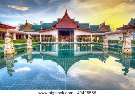 KOH KHO KHAO, THAILAND - NOV 4: Oriental architecture of Andaman Princess Resort & SPA. Hotel was destroyed by tsunami in 2004 and rebuild, Koh Kho Khao, Phang Nga in Thailand on Nov. 4, 2012.