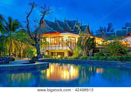 KOH KHO KHAO, THAILAND - NOV 13: Scenery of swimming pool at Andaman Princess Resort & SPA. Hotel was destroyed by tsunami in 2004 and rebuild, Koh Kho Khao, Phang Nga in Thailand on Nov. 13, 2012.
