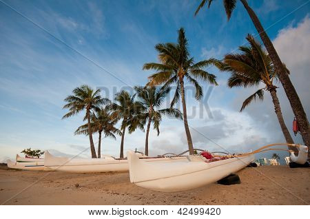Group Of Outrigger Conoes On The Beach