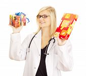 picture of lobbyist  - A female medical doctor with two gifts - JPG