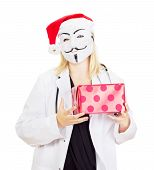 picture of lobbyist  - Medical doctor with a guy fawkes mask - JPG