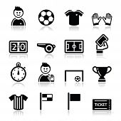 image of offside  - Football modern black icons set with reflection isolated on white - JPG