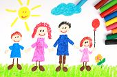 image of kiddy  - Kiddie style crayon drawing of a happy family on a green meadow - JPG