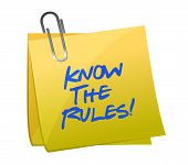 stock photo of ethics  - know the rules written on a post it note illustration design - JPG