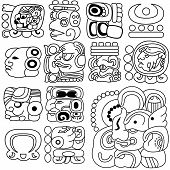 stock photo of hieroglyphic  - Vector image of ancient Mayan hieroglyphs on white - JPG