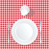 picture of mandible  - vector paper plate  with plastic glass on red tablecloth - JPG
