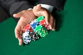 stock photo of gambler  - Gambler stakes  - JPG