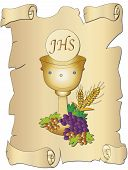 stock photo of eucharist  - a illustration for first communion with chalice - JPG