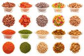 stock photo of legume  - A set of pictures of nuts legumes and dried fruit in a glass bowl on a white background - JPG