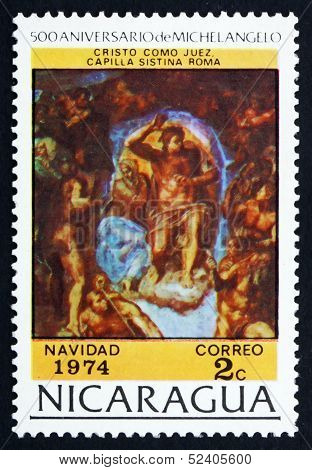 Postage Stamp Nicaragua 1974 The Last Judgment, By Michelangelo