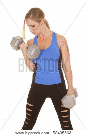 Fitness Woman Blue Tank Big Weights Curl Serious