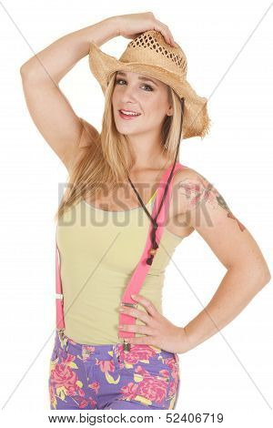Woman Pink Suspenders Hat Hold