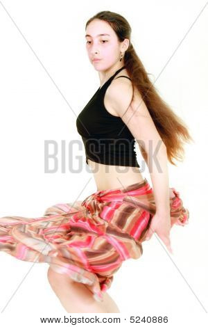 Dancing Girl Over White