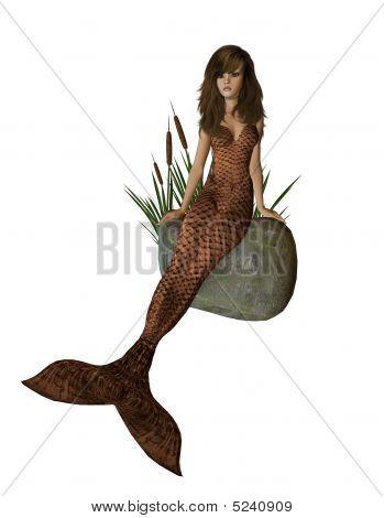 Brown Mermaid Sitting On A Rock