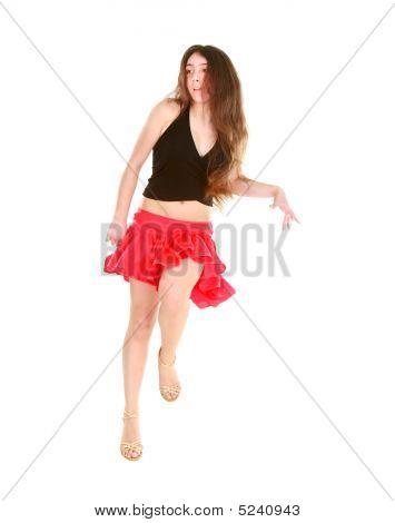 Attractive Girl Dancing Latino Dance Over White