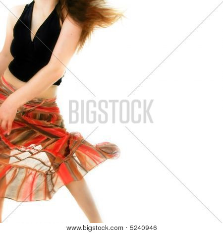 Dancing Girl In Action Over White