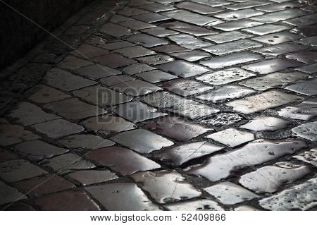 Old Shining Stone Pavement Surface Background