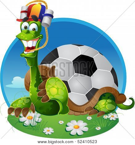 vector turtle football fan on color background