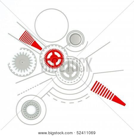 Technological background with gears and buttons and other details