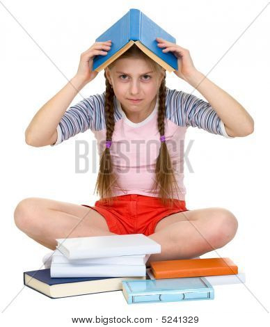 Young Girl With Book On Head