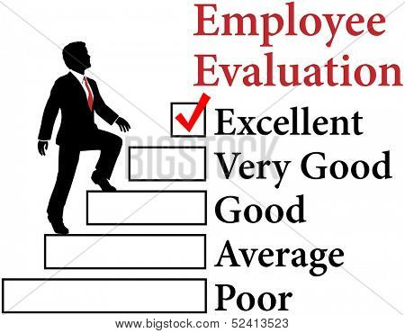 Business man climbs up Employee Evaluation form to improvement
