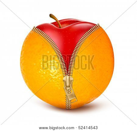 Unzipped orange with red apple. Fruit and diet against cellulite. Vector