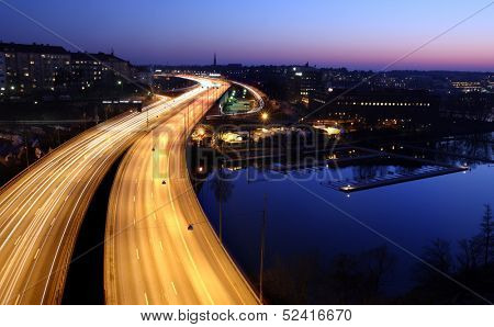 cars at night with motion blur. Stockholm City