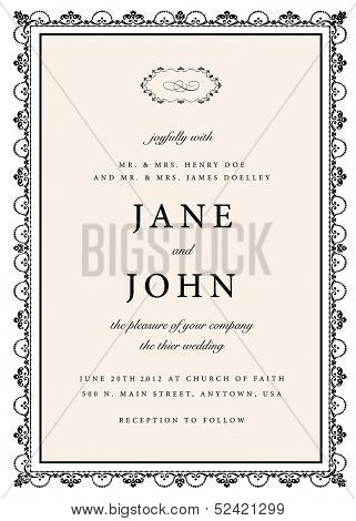 Vector Rough Wedding Invitation. Easy to edit. Great for invitations and announcements.