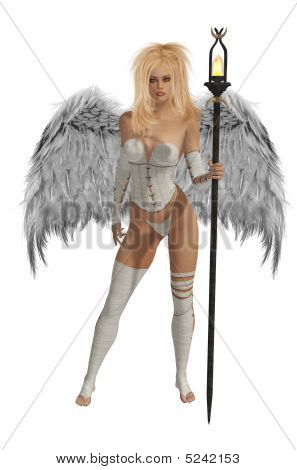 White Winged Angel With Blonde Hair