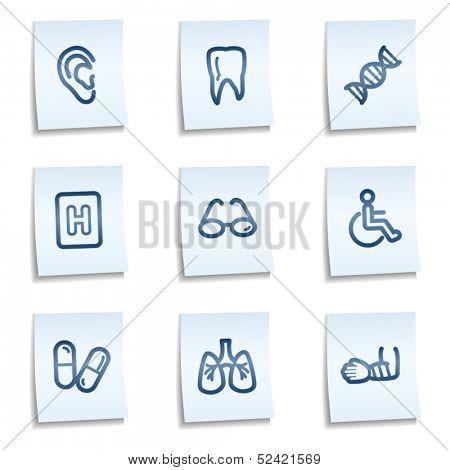 Medicine web icons set 2, blue notes