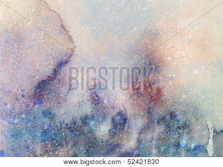 Abstract watercolor and ink painting on grunge paper texture - stylish background