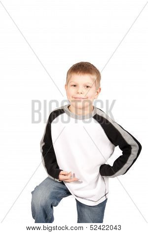Smiling Little Boy With Hand On Hip