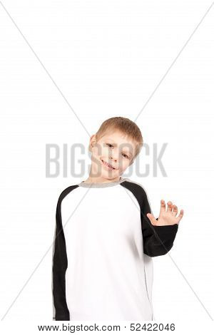 Nervous Waving Boy