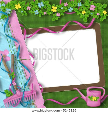 Vintage Frame With Bunch Of Flowers On The Abstract Background