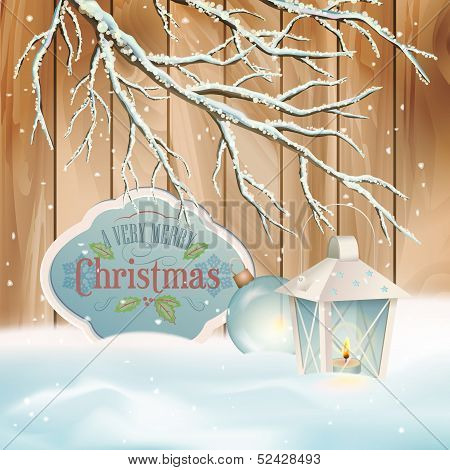 Vector Vintage Christmas Branch Lantern Background