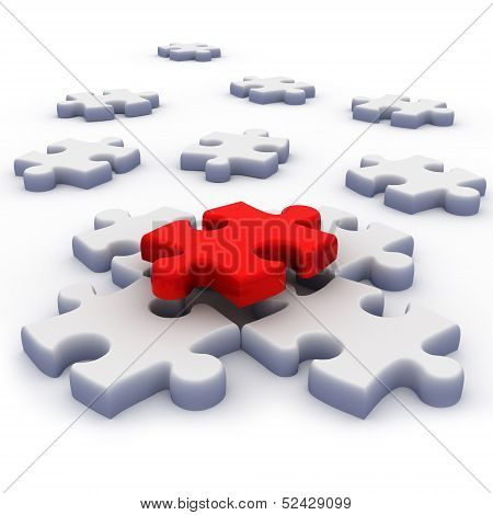 white and red 3d puzzle. isolated