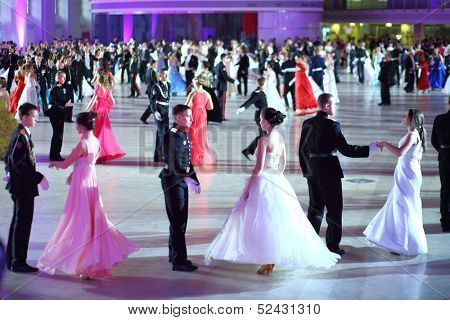 MOSCOW - FEB 22: Dancing couples on the Kremlin Cadet Ball, on February 22, 2013 in Moscow, Russia.
