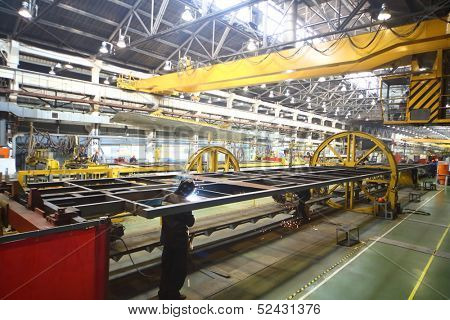 TVER - JUN 05: The welding process at the Tver Carriage Works, on June 05, 2013 in Tver, Russia.