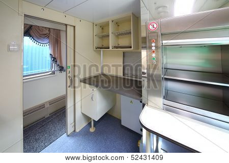 TVER - JUN 05: The kitchen in the new two storey car, on June 05, 2013 in Tver, Russia.
