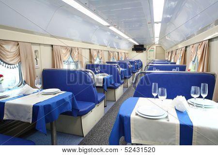TVER - JUN 05: The restaurant in the train, on June 05, 2013 in Tver, Russia.