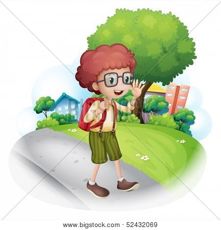 Illustration of a boy walking at the street carrying a backpack on a white background