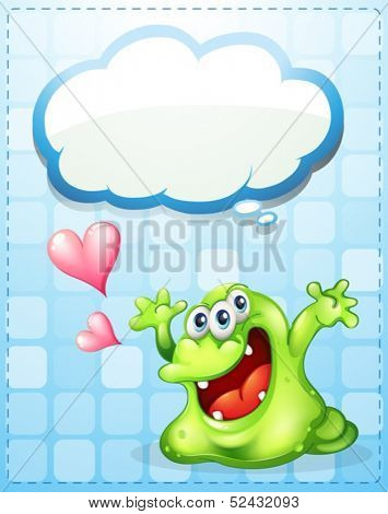 Illustration of a happy green monster with an empty callout template