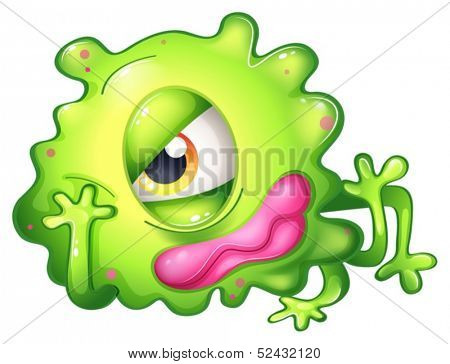 Illustration of a bored green one-eyed monster on a white background