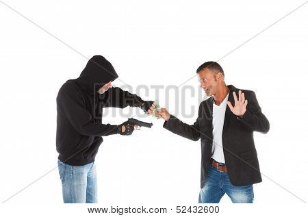 Robber With Gun Grabbing Money From Victim