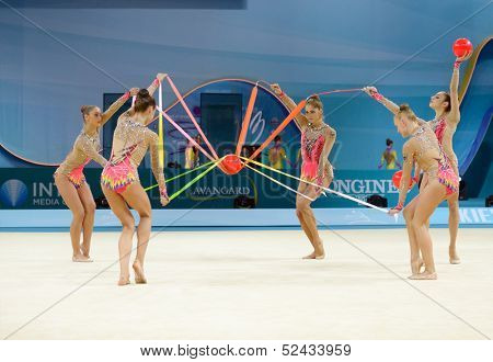 KIEV, UKRAINE - AUGUST 31: Team Germany performs the routing with balls and ribbons during the 32nd Rhythmic Gymnastics World Championships in Kiev, Ukraine on August 31, 2013