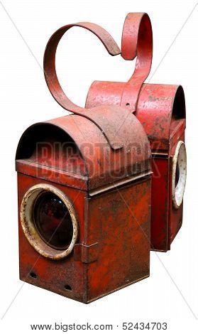 Vintage Red Road Railway Lamps