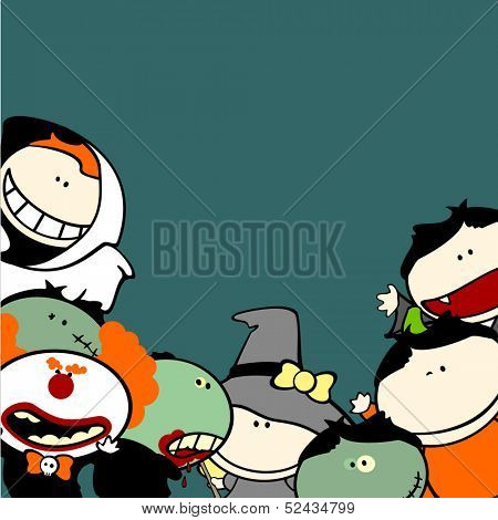 Cute Halloween background with kids in costumes