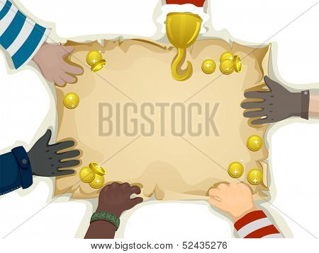 Illustration of Hands Holding the Edges of a Blank Treasure Map