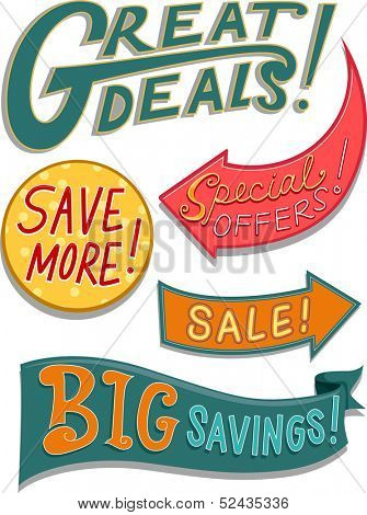 Illustration of Ready to Print Labels Featuring Bargain Related Words with Different Designs